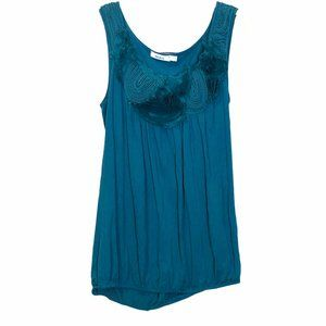 Ricki's sleeveless embroidered rose loose fit tank